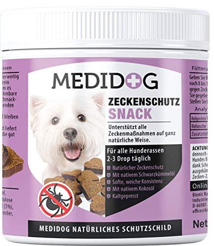 Medidog 400g Premium Anti Zecken Snack, kaltgepresst und getreidefrei, Zeckenschutz für Hunde, Alternative zu Zeckenzange, Zeckenhalsband, Zeckenkarte mit Schwarzkümmelöl und Kokosöl