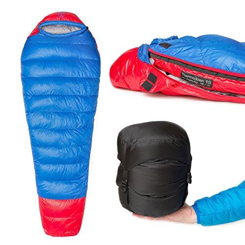 Paria Outdoor Products Thermodown 15 Degree Survival-Daunenschlafsack - Ultraleichter 3-Jahreszeiten-Schlafsack - Perfekt für Camping und Rücksacktourismus (Regulär)