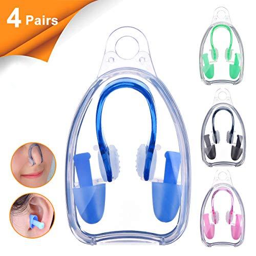 BHGWR 4 Stück Nasenklammern und Ohrenstöpselsets für Schwimmer, Weiche Silikon Nasenklammer und Ohrstöpsel für Schwimmen Erwachsene Kinder (Schwarz/Pink/Grün/Blau)