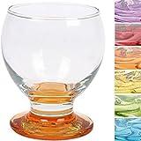 Gläserset 'Nectar' Coral - 280ml (6 Stück) mit farbigem Boden / Trinkgläser / Saft-/ Likörgläser