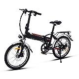 Minilism Faltbares E-Bike, Elektrofahrrad Klapprad 36V 250W Mountainbike, Große Kapazität Pedelec mit Lithium-Akku und Ladegerät (20Zoll/26Zoll) (26'' Speichenrad (weiß))