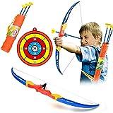 TONGJI Pfeil Und Bogen Kinder Set Bogenschießen Training Spielzeug Schießspiele Mit 3 Starken Saugnapfpfeilen Und Zielscheibe Für ab 3 Jahre