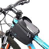 MOZIONE Fahrradtasche Rahmentasche | Radtasche Mountainbike zubehör | Handytasche mit Blendschutz | Fahrrad Handyhalterung | Werkzeugtasche Schwarz | fahrradtaschen vorne Wasserdicht