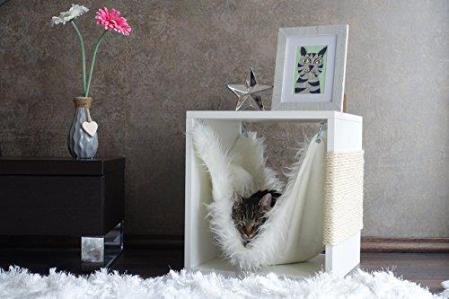 Kratz die Katz Design - Kratzbaum/Kratzwürfel/Katzenmöbel/Beistelltisch/in Weiß (Matt)