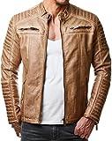 Redbridge Herren Jacke Übergangsjacke Biker Kunstleder Echtleder Baumwolle mit Gesteppten Bereichen (XL, Camel - Kunstleder)