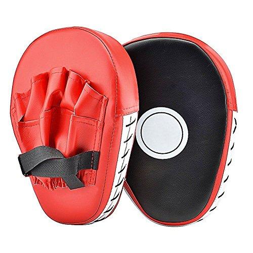 Cozyswan PU Handpratzen Teller-Pratzen vorgekrümmt Trainerpratzen Schlagpratzen Coaching Pratzen 1 Paar Kickboxen Boxen Pratzen (Open finger)