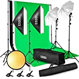 ESDDI Professionelles Fotostudio-Set 2.6M x 3M / 8.5ft x 10ft Hintergrund-Unterstützungs-System 3X Hintergrundgewebe Softbox-Studiolicht Stativstudio lampenschutztasche