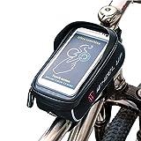 Fahrradtasche Fahrrad Rahmentasche Oberrohrtasche Fahrrad Tasche Handy halterung Sensitive Touch-Screen Wasserdicht Groß Schwarz