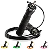 ZenRope - Speed Rope Springseil Sport mit GRATIS E-BOOK | Extra-Stahlseil, Tasche & Einstiegsguide | Rope Skipping Seil High Speed Workout Springschnur (Schwarz)