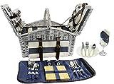 HappyPicnic 'Huntsman' Picknickkorb aus Weide für 4 Personen mit doppeltem Deckel und integriertem isoliertem Kühler, Weiden-Picknick-Set (marineblaue Streifen)