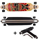 FunTomia Longboard Skateboard Drop Through Cruiser Komplettboard mit Mach1 ABEC-11 High Speed Kugellager T-Tool (Modell Freerider2 - Farbe Route66 + T-Tool)