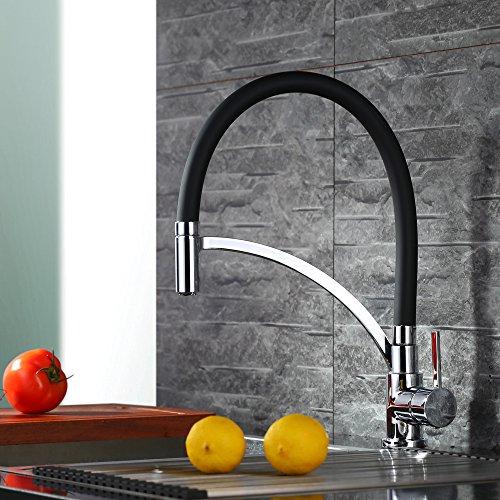 Homelody Schwarz Wasserhahn Küche Küchenarmatur Armatur Spüle Mischbatterie Einhebel Spültischarmatur Spiralfederarmatur
