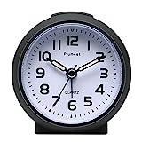 Kleine Uhr, Plumeet nicht tickender Analog Quarzwecker mit Schlummermodus und Nachtlicht, niedlicher Farbe für Kinder, ansteigendem Soundalarm, einfach einzustellen, Handgerät-Größe, batteriebetrieben (Schwarz)
