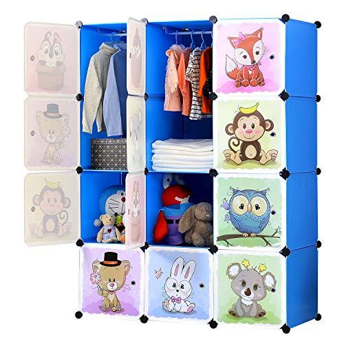 BRIAN & DANY Erweiterbares Kinderregal Kinder Kleiderschrank Stufenregal Bücherregal mit Türen & 2 Aufhängern, tiefere Fächer als normal (45 cm vs. 35 cm) für mehr Platz, 110 x 47 x 147 cm Rosa