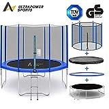 ULTRAPOWER SPORTS Fitness Trampolin/Gartentrampolin 305 cm 8 mit Sicherheitsnetz Innennetz und ideal für Kinder Blau