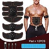 FYLINA 12008 EMS Trainer, wiederaufladbar, elektrischer Muskeltrainer, Bauchmuskeltrainer, mit 12 Tabletten, Gel, Orange, M