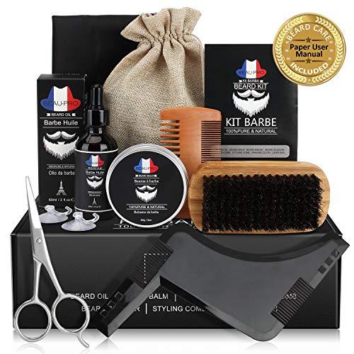 Bartpflege Set Geschenkset für Männer - komplett 9 Teilig, Bartöl(60mL), Bartbalsam(60g) für Bart Wachstum, Bartbürste, Bartkamm, Bartschere, Styling Werkzeug, Bartschürze, Reisetasche, Papierhandbuch