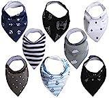 KEIKI Baby Dreieckstuch Lätzchen für Jungen oder Mädchen, 8er-Set, 100% Bio-Baumwolle, weich und Hypoallergen und Super Saugfähig