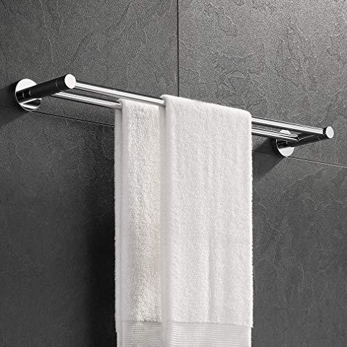 ubeegol Doppel Handtuchhalter 60 cm Badetuchhalter Edelstahl Badetuchstange Handtuchstange Handtuchhaken Handtuchständer Bohren für Wandmontage, Glänzend
