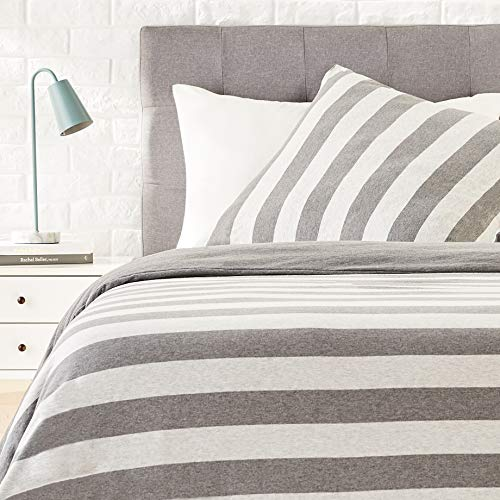 AmazonBasics - Bettwäsche-Set, Jersey, breite Streifen, 155 x 220 cm / 80 x 80 cm, Grau