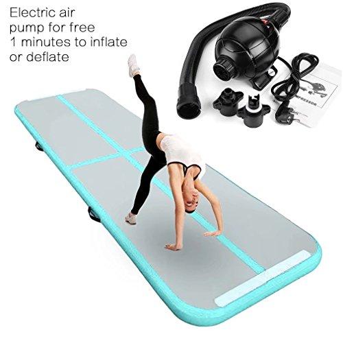 Aufblasbar Gymnastik Tumbling Matte Air Track Weichbodenmatte mit 800W Europlug Elektrisch Luftpumpe für Zuhause, Cheerleading, Strand, Park und Wasser-inklusive Steuer (118'x39',Green)
