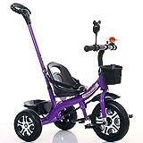 FJ-MC Kinder Dreirad, Einstellbarer Sitz Kinder 3 Wheel Pedal Bike, mit abnehmbarem Eltern-Schiebegriff und Korb, für 1-6 Jahre Kinder und Kleinkinder - 90-120 cm,Purple
