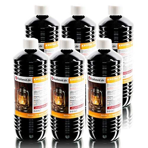 Lampenöl 6 x 1 Liter hochrein rauchfrei & geruchsfrei Brennstoff für Gartenfackeln Öl-Lampen Öllaternen Bambusfackeln Wandfackeln Campingkocher uvm. 1Liter Flaschen für handliche und sichere Anwendung