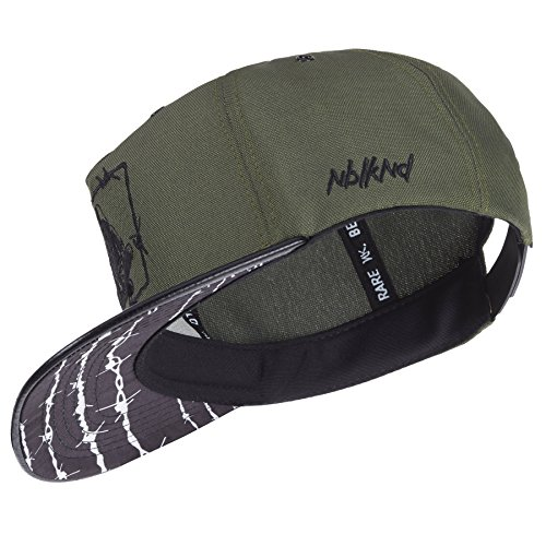 Nebelkind Snapback Cap oliv grün Stacheldraht Muster mit Stickereien edel onesize unisex
