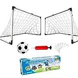 YIMORE 2er Set Kinder Fußballtore mit Fußball , Tore und Pumpe Fussball Interaktiv Minitore Spielzeug Sportspaß für Garten Indoor