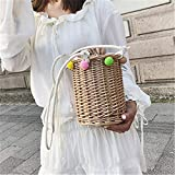 Eeayyygch Handgemachte süße Eimer Stroh Tasche Frauen Sommer kleine Rattan Tasche Woven Schulter Handtasche Art Box Beach Bag Bohemia Handtasche Bali (Farbe : Braun)