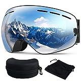 Skibrille, Ski Snowboardbrille Brillenträger Schneebrille Verspiegelt- Für Skibrillen mit Anti-Nebel UV-Schutz, Winter Schnee Sport, Austauschbar Sphärische Doppelte Linse für Männer Frauen(Silber)