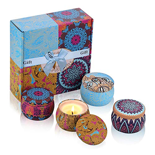 iheyfill Duftkerze Aroma Kerzen Naturwach in Dose 4er Kerzen Geschenk Set - Natürliches Aromen von Frühling frisch, Zitrone, Lavendel und Feigen Düfte für Aromatherapie