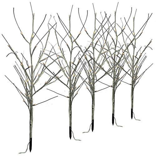LED-Bäume 5 Stück weiß an Lichterkette für Weihnachten außen