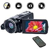 Videokamera Camcorder Full HD 1080p Digitalkamera 24.0MP 18facher Digitalzoom 3,0 Zoll LCD Bildschirm 270 °Drehbildschirm mit Fernbedienung