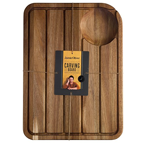 Jamie Oliver JB1903 JO Tranchierbrett mit Saftrillensystem Schneidbrett, Holz, edelstahl, 46 x 33,5 x 2,5 cm