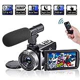 Videokamera 2.7K Camcorder HD 30FPS 30MP Digitalkamera mit drehbarem 3,0 Zoll Touchscreen und Zeitraffer Videokamera mit Mikrofon IR Nachtsicht Webcam