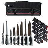 Stallion Professional Messer - Messertasche mit sechs Messern, Wetzstahl und Fleischgabel - Klingen aus deutschem 1.4116 Messerstahl und Griff aus G10 GFK