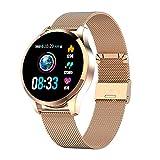 GOKOO Bluetooth Smartwatch Damen Herren Sportuhr Fitnessuhr Intelligente Armbanduhr mit Schrittzähler Pulsmesser Schlafmonitor für Android IOS (Gold)
