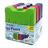 Kühlakku gel kühlakkus Gefrierschrank Blöcke für kühltasche, Eisblock für Lunchboxen, Eiskühlblöcke, Kühlelemente für die Kühltasche oder Kühlbox, World-Bio Cool Coolers Slim Lunch Ice Packs, Mehrfarbig - Set von 4