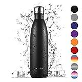 Ecooe Thermosflasche 750ml Doppelwandig Trinkflasche Edelstahl Wasserflasche Vakuum Isolierflasche (Schwarz)