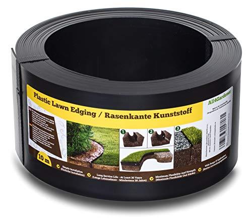 Flexible Rasenkante Kunststoff (10 m, schwarz) - Gut zu Verarbeiten, Sehr Stabil, Min. 30 Jahre Lebensdauer - Rasenbegrenzung und Beetbegrenzung unsichtbar - Beeteinfassung aus recyceltem Plastik