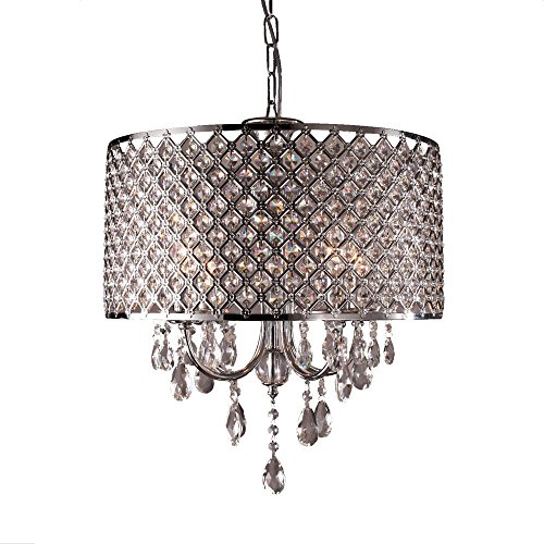 SAILUN Kristall Hängelampe Lampenschirm Kronleuchter Deckenlampe Lüster Pendelleuchte Hängelampenschirm 4 x E14 (Keine Glühbirne enthalten)
