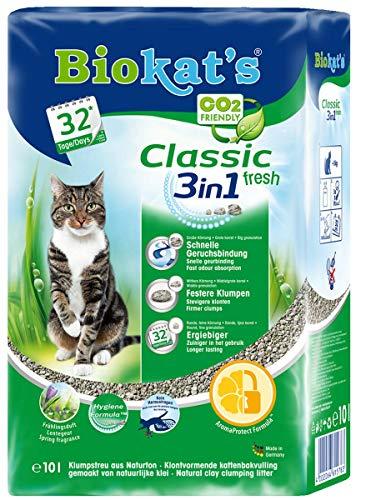 Biokat's Classic Fresh 3in1 Frühlingsduft Katzenstreu / Hochwertige Klumpstreu für Katzen mit 3 unterschiedlichen Korngrößen / 1 Plastikbeutel (1 x 10 L)