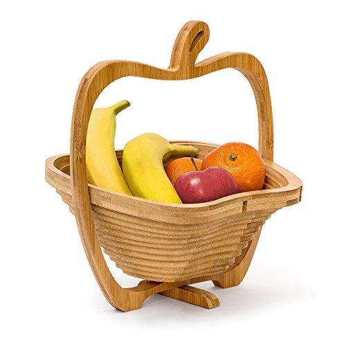 Relaxdays Faltkorb Apfel H x B x T: 30 x 27 x 22,5 cm Klappkorb aus Bambus Obstkorb und Untersetzer Schneidebrett zum Falten Holz Obstschale in originellem Apfel-Design, natürlich braun