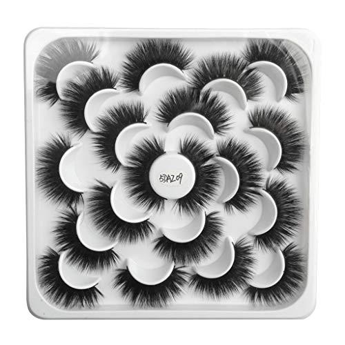 kashyk 10pair Lotus mit 5D Nerz falsche Wimpern, natürliche Wimpern, Make-up, Wilde Wimpern (A Style)