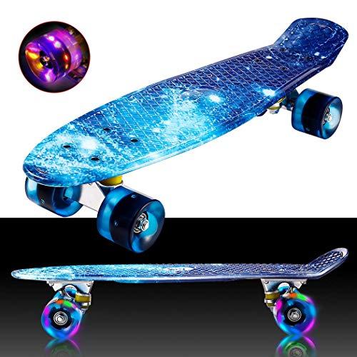 Hiriyt Mini Cruiser Skateboard Retro Komplettboard - 22' 55cm Vintage Skateboard Für Anfänger Jugendliche Und Erwachsene - 4 Ledteile Erleuchten Das Glatte Pu Rad