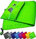 Fit-Flip 3-TLG Fitness-Handtuch Set mit Reißverschluss Fach + Magnetclip + extra Sporthandtuch   zum Patent angemeldetes Multifunktionshandtuch, Microfaser Handtuch (grün)