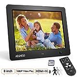 Digitaler Bilderrahmen 8 Zoll, ICOCO HD IPS LCD Display mit Bewegungssensor/Kalender/Uhr Funktion, Video Musik Foto E-Book Wiedergabe, mit Fernbedienung, 8G SD Karte