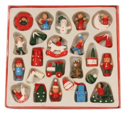 Baumschmuck Holzanhänger Hänger Holz Weihnachten 24-tlg. nostalgisch