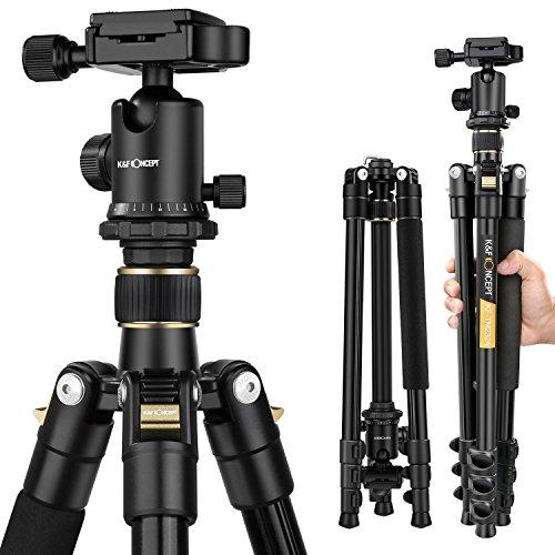 K&F Concept TM2324 Stativ Kamera Kamerastativ Reisestativ für Canon Nikon Sony Spiegelreflexkamera aus Aluminium inkl. Kugelkopf Schnellwechselplatte und Stativtasche 156cm